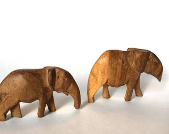 Pair of Small Hand Carved Elephants