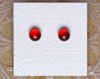 Dichroic Glass Earrings, Petite, Dark Cherry DGE-1155