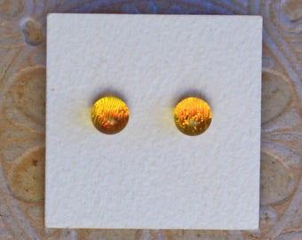 Dichroic Glass Earrings, Petite, Rich Amber DGE-1195