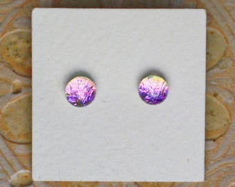 Dichroic Glass Earrings , Petite, Pink/Violet DGE-1274