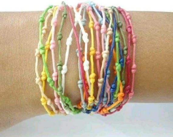 Handcrafted Knotted Rainbow Thai Wristband Bracelet