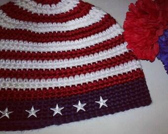 Patriotic beanie, #red white blue beanie,americana beanie, stars and stripes beanie,ready to ship