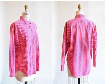 25% off Storewide // Vintage HOT PINK striped button-up shirt