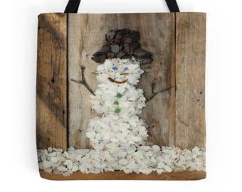Snowman Tote Bag- Beach Theme Market Bag, Seaglass Photography, Whimsical Winter Bag, Coastal Art, Beach Glass, Book Bag, Shopping Carry All