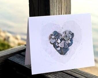 Heart Cards- Beach theme cards, heart stones, romantic cards, beach wedding cards, sea glass, rock art, beach note card set, Valentine cards