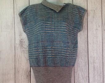 Vintage Ladies Worthington Sweater Pullover Classy Zip Neck Short Sleeve 80s Medium