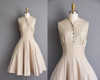 50s beige clean new look soft cotton vintage dress. vintage 1950s dress.