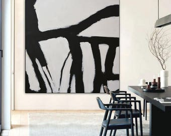 Black and white Abstract Painting modern Art, square Custom size, Black White Acrylic Painting, Original Black and White Abstract Art