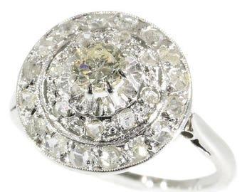 ON SALE Art Deco diamond cluster ring 18k white gold brilliant cut diamond rose cut diamonds 1920s wedding jewellery