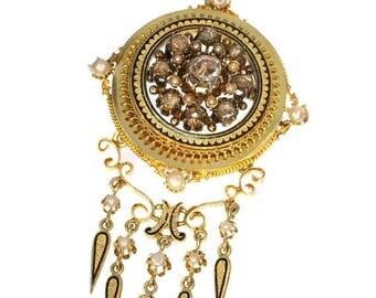 ON SALE Victorian enamel pendant - Antique rose cut diamonds seed pearl enameled pendant brooch 18k yellow gold 1860s