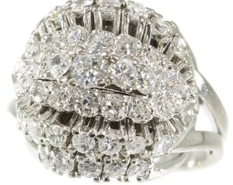 Large diamond cocktail ring 18k white gold brilliant cut diamonds 1.74ct vintage statement ring