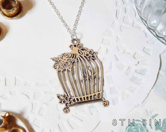 Antique Silver Bird Cage Necklace, Antique Silver Birdcage Necklace, Antique Silver Bird Necklace, Bird Watching Gift, Bird Keeper Gift