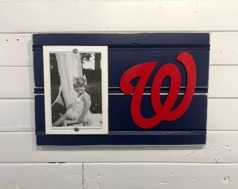 "Washington Nationals picture frame holds 4""x6"" photo, decor"