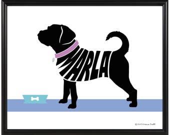 Personalized Puggle Silhouette Print, Framed Puggle Name Art, Memorial Gift for Dog Lover