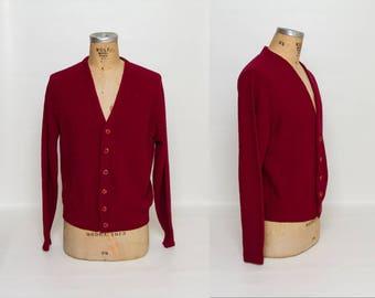 vintage 1960s maroon cardigan sweater
