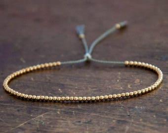 SALE Gold Bead Bracelet, Solid 10k Yellow Gold Beaded Friendship Bracelet
