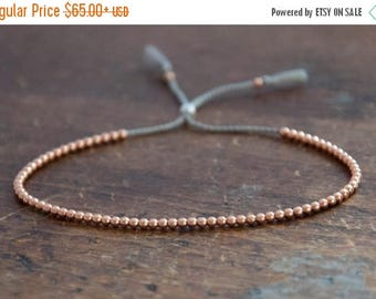 SALE Solid 14k Rose Gold Beaded Friendship Bracelet, delicate bracelet with dainty beads with silk