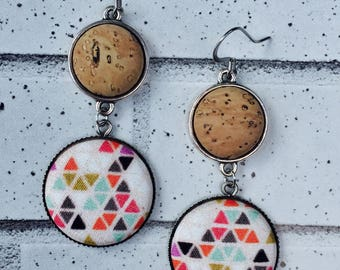 Tribal Triangles- Cork Fabric Button Earrings, Statenent Earrings, Wedding, Minimal, Modern, Silver Dangle, Boho