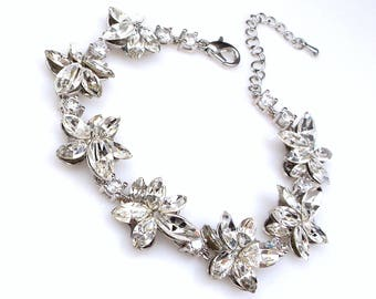 Wedding jewelry bridesmaid party gift bridal silver flower bracelet prom pageant swarovski clear white marquise flower rhinestone crystal