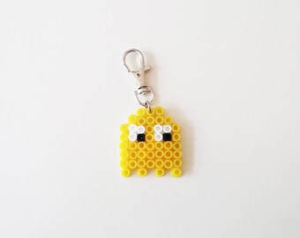 Ghost Keychain, 80s , Pacman and Ghost , Yellow , Accessories , Gift for men, Gift for women, Keychains, Handmade
