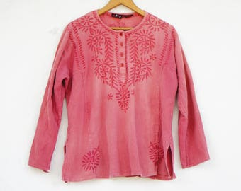 Vintage Embroidered Indian Tunic/Boho/Hippie/Peasant Blouse