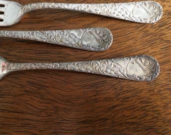 vintage silverplate flatware set of 4 forks