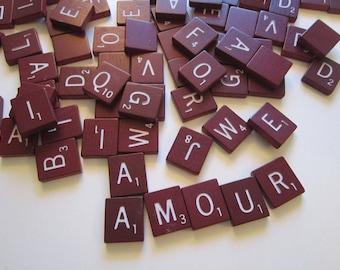 100 vintage RED scrabble tiles - maroon Scrabble pieces, game pieces, wood, letters, tiles, spell, alphabet, assemblage