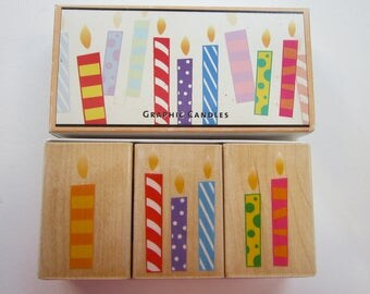 3 rubber stamps - HERO ARTS Graphic Candles - birthday candles - circa 2004
