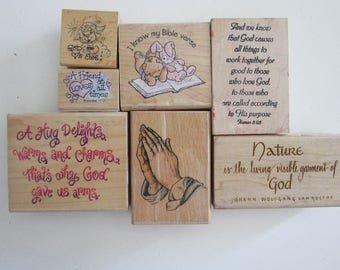 rubber stamp - YOUR CHOICE - religious stamps, prayer, bible verse stamp - used rubber stamps