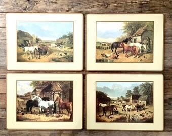 Horse Cork Placemats / Farm Scene Placemats with Horses and Chickens