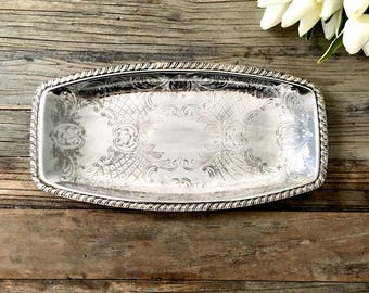 Vintage Silver Tray, Vanity tray, Jewelry dish,  Chic French Decor, silver plate, French Farmhouse Decor