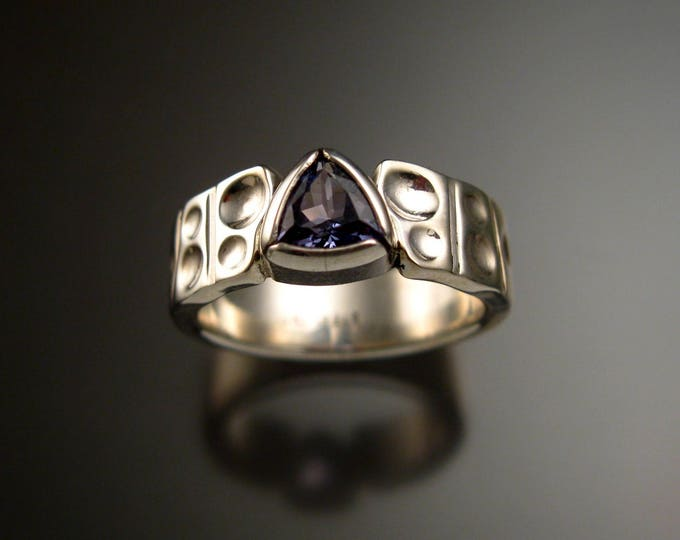 Tanzanite Triangle Ring Sterling Silver Moonscape band bezel set ring made to order in your size