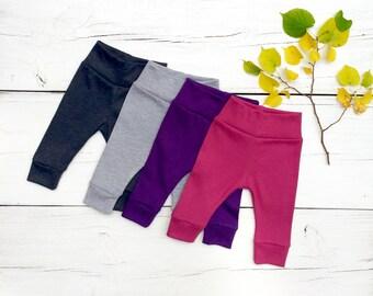 Solid Color Baby Pants, Baby Leggings, Knit Baby Pants, Grey Baby Leggings, Gender Neutral Baby Clothes, Purple Baby Leggings, Pink Leggings