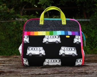 Large Rainbow Patchwork Maker's Tote | Project Bag | Travel Bag | Overnight Bag | Purse | Handbag