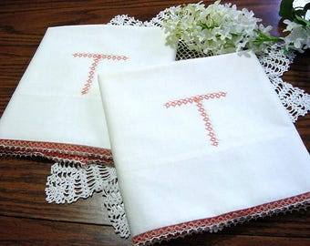 Dainty Tatted Edge & Monogram Vintage NOS Pillowcases -Peach White Cotton Cottage Chic Bed Wedding Boudoir Bedding