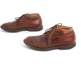 mens size 8 CHELSEA boots grunge OXFORD brown leather 90s lace up ankle boots