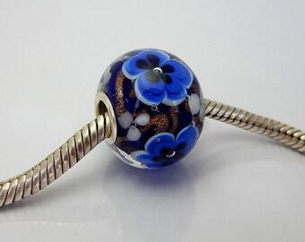 Encased Blue Frowers - Lampwork Bead - BHB - Big Hole Bead - Handmade Beads
