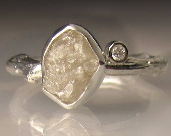 One of a Kind Raw Diamond Twig Ring, Rough Diamond Engagement Ring, 2.22 Carats
