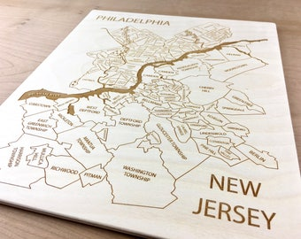 Philadelphia New Jersey Map - Bellmawr Camden Haddon Heights Cherry Hill Delran Lindenwold Magnolia Woodbury Somerdale Engraved Wood Map