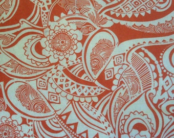 Floral Abstract Cotton Quilting fabric  Orange