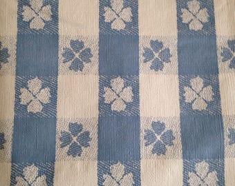 Vintage Blue White Gingham Vinyl Tableccloth Rectangle