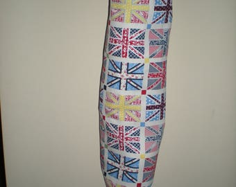 Plastic/Storage bag holder multi-coloured Union Jacks print NEW great gift idea Australian handmade cotton fabric