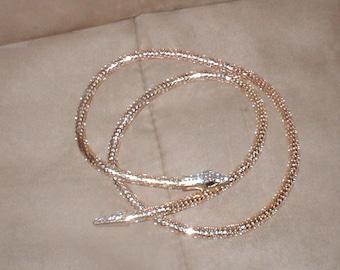 Vintage Gold Metal Mesh Snake Necklace or Belt