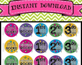 "20% OFF School Rocks - Pre K, Kindergarten, 1st 2nd 3rd Grade Rocks - INSTANT Download 1"" Bottle Cap Images 4x6 - 214"