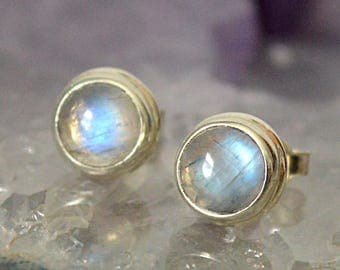 FREE SHIPPING---Rainbow Moonstone Round Post Stud Earrings---Sterling Silver---Creations by Sandy