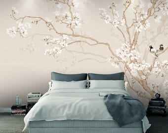 "Oriental Chinoiserie Magnolia & Birds Wallpaper Yellow White Blossom Wall Mural 129.5"" x 93.7"""