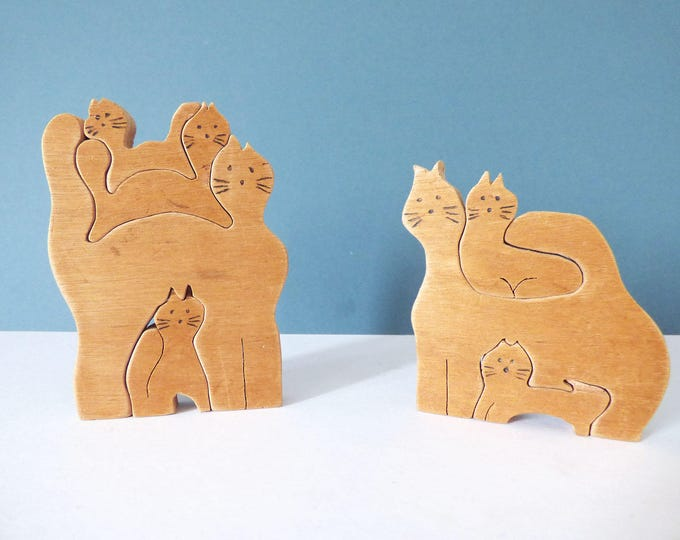 Nesting wooden cats and kittens puzzles 1970's vintage