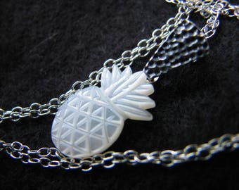 Pineapple necklace sterling silver | mother of pearl | carved | miniature fruit