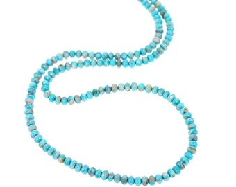 Fox Mine AMERICAN TURQUOISE Beads Cream Blue Rondelles