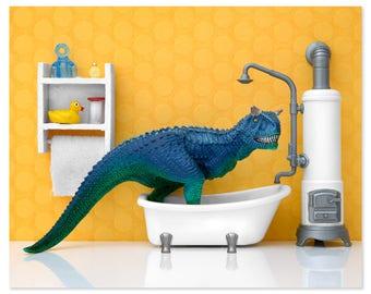 Dinosaur decor wall art print: Scrub